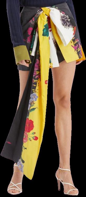Floral Stripe Bow Shorts-Oscar De La Renta