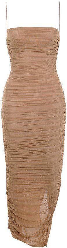 Fornarina Tan Organza Mesh Maxi Dress-House Of CB