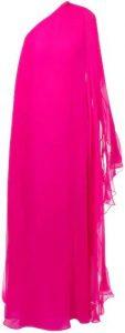 Fuschia One Shoulder Silk Chiffon Long Dress-Valentino