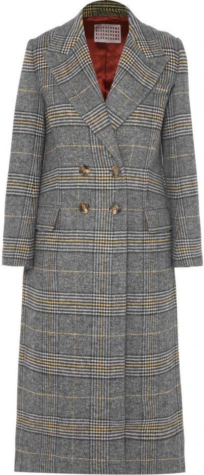 Gray Checked Tweed Coat-ALEXACHUNG