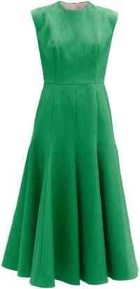 Green Denver Sleeveless Cloqué Midi Dress-Emilia Wickstead