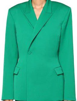 Green Double Breasted Wool Blend Twill Jacket