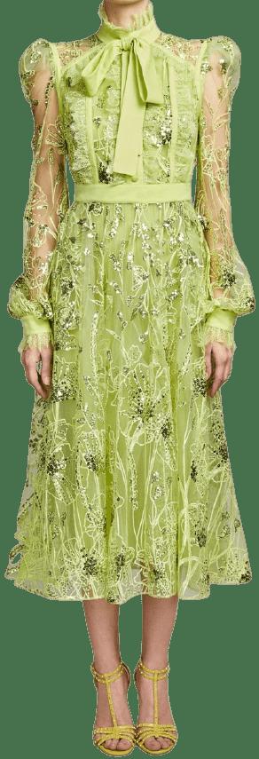 Green Embroidered Tulle Midi Dress-Elie Saab