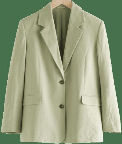 Green Linen-Blend Blazer-& Other Stories