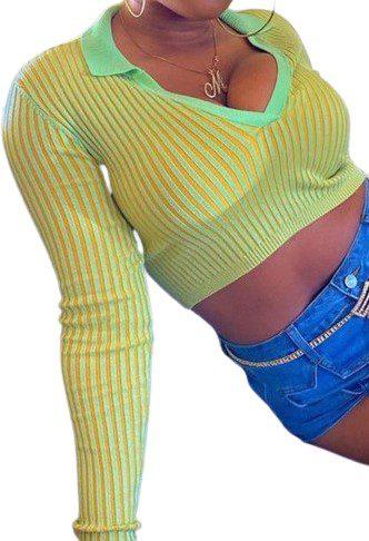 Green The Gaia Polo Knit Top-437