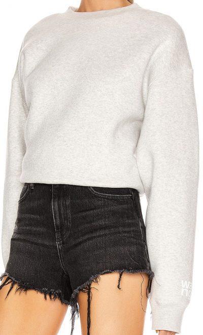 Grey Dense Fleece Bubble Crew Sweatshirt-T By Alexander Wang