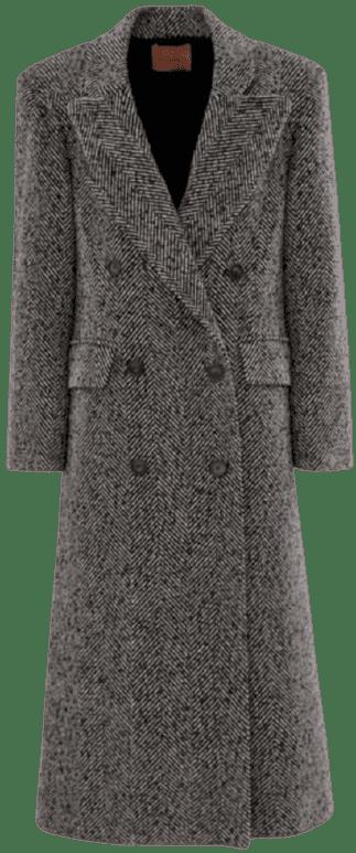 Grey Double Breasted Herringbone Coat