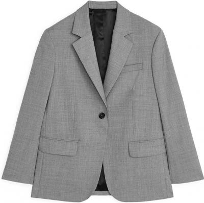 Grey Melange Oversized Wool Blazer