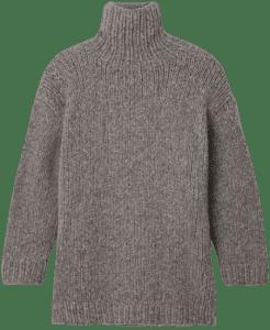 Grey Oversized Turtleneck Sweater-Lauren Manoogian