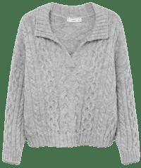 Grey Polo Style Sweater-Mango