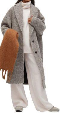 Grey Textured Wool-Blend Coat-Mango