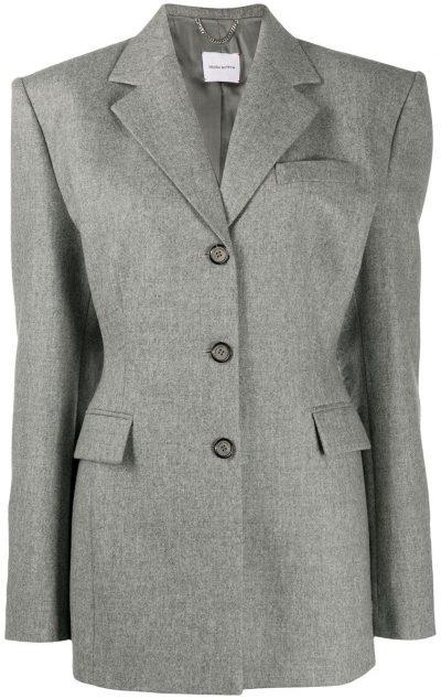 Grey Tie Back Fine Knit Blazer-Magda Butrym