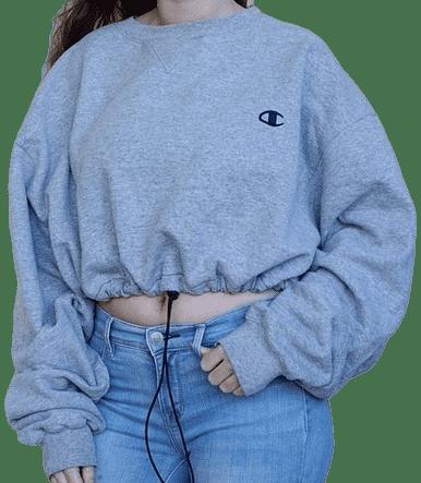 Grey Vintage Crop Drawstring Sweatshirt-Champion