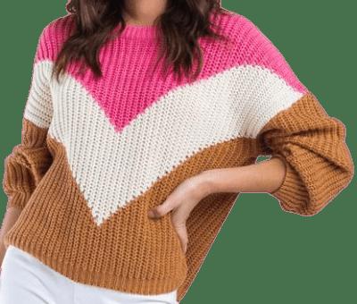 Hadlin Chevron Color-Block Sweater-Francesca's