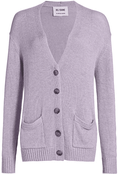 Heather Lilac 90s Oversized Wool-Blend Cardigan-Redone