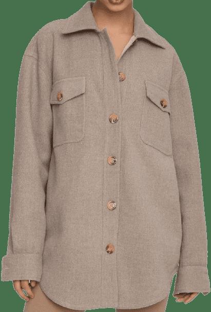 Heathered Sepia Oversize Wool Shacket-Good American
