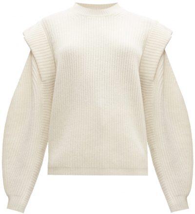 Ivory Bolton Extended-Shoulder Wool-Blend Sweater-Isabel Marant