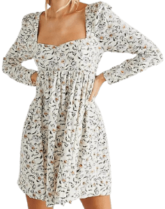 Ivory Combo Bessie Babydoll Dress-Free People