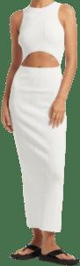 Ivory Ingrid Cut Out Midi Dress-SIR.