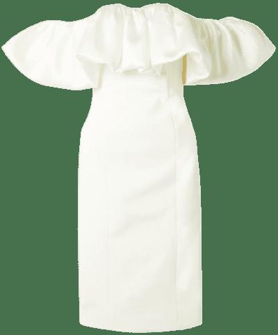 Ivory Raina Off-The-Shoulder Midi Dress-Solace London