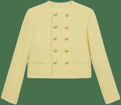 Jaune Pale Bouclé Tweed Chasseur Jacket-Celine