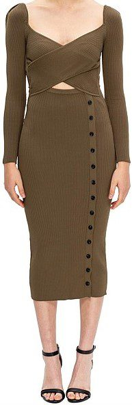 Khaki Long Sleeve Cut Out Knit Midi Dress-Self-Portrait