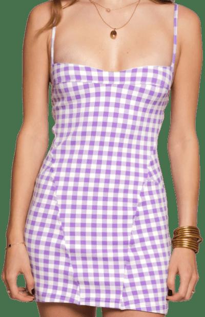 Lavender Gingham Naomie Dress-Leslie Amon