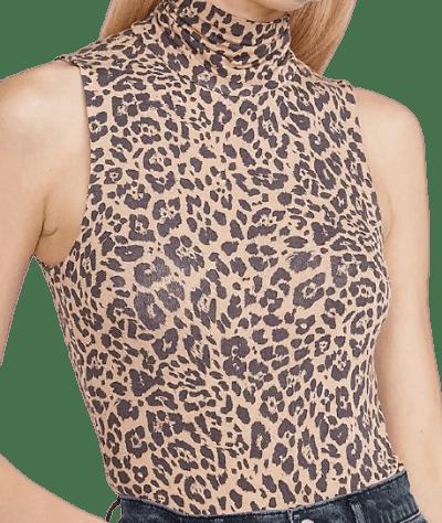 Leopard Sleeveless Mock Neck Bodysuit-Express