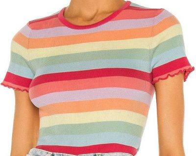 Lettuce Edge Rainbow Stripe Baby Tee-Autumn Cashmere