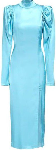 Light Blue Theresa Satin Midi Dress-Rotate