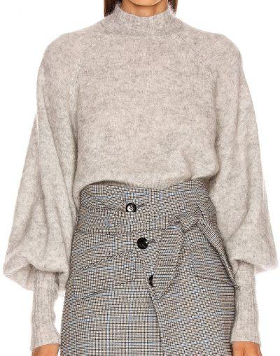 Light Grey Piper Mockneck Trapeze Sweater-Marissa Webb