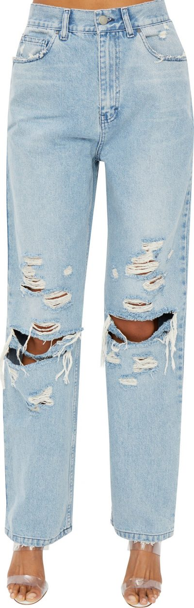 Light Wash Denim Distressed Jeans