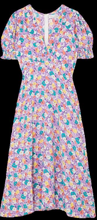 Lilac Marie-Louise Floral-Print Crepe Midi Dress