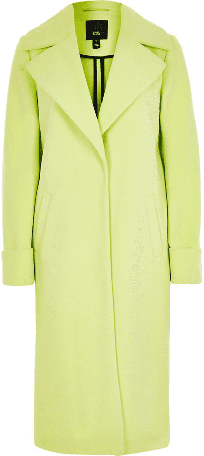 Lime Green Longline Single-Breasted Coat