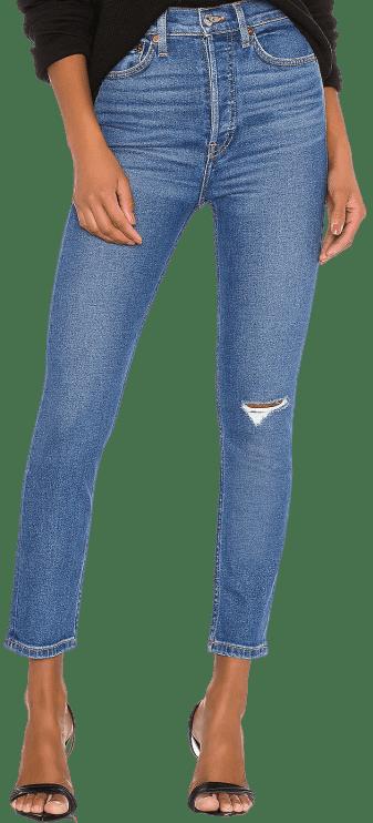 Medium Worn 90s Ultra High Rise Ankle Crop Jeans