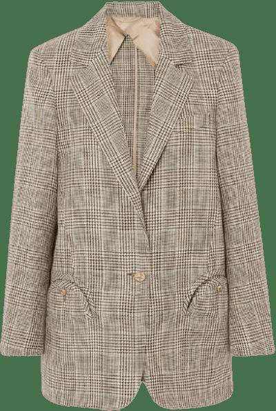 Merit Weekend Oversized Checked Linen And Wool-Blend Blazer-Blazé Milano