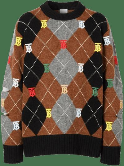 Monogram Motif Wool Cashmere Sweater-Burberry
