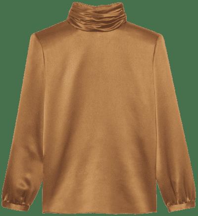 Mordore Silk Satin Crepe Turtleneck Blouse-Saint Laurent