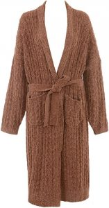 Natasha Toffee Oversized Chenille Cable Knit Cardigan-House of CB