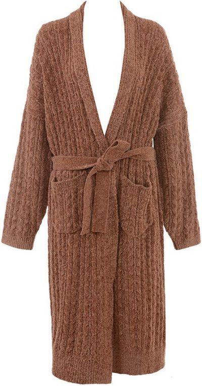 Natasha Toffee Oversized Chenille Cable Knit Cardigan-House of CB