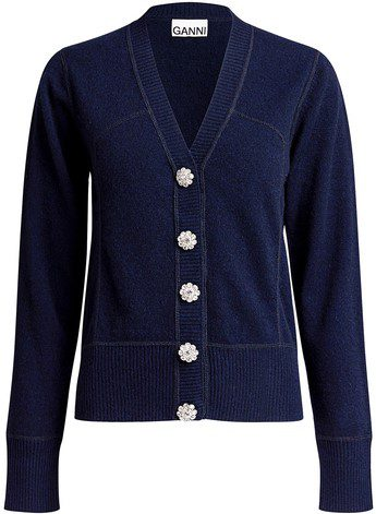 Navy Crystal Embellished Button Cashmere Cardigan-Ganni