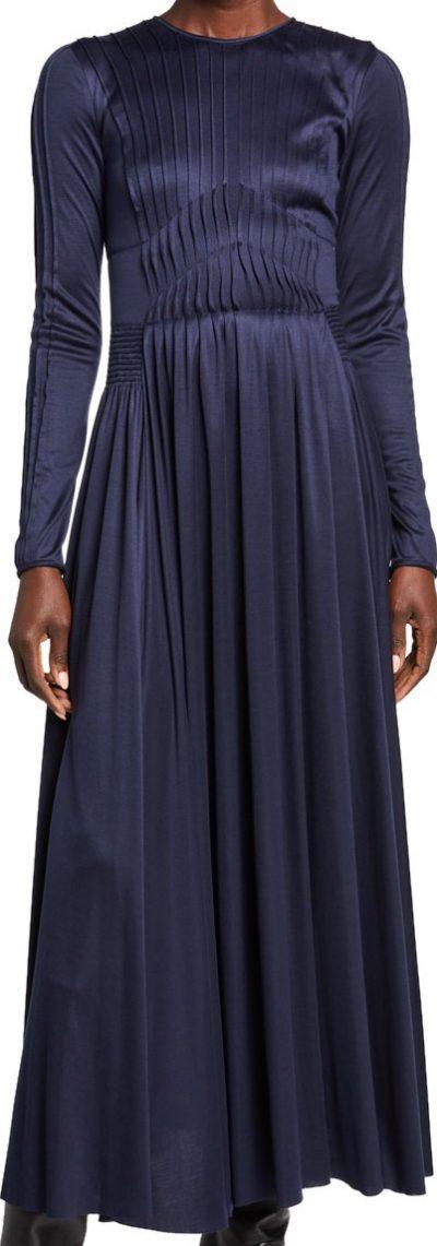 Navy Hermina Silk-Jersey Dress