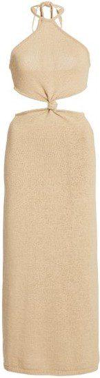 Neutral Cameron Cutout Cotton-Blend Knit Midi Dress-Cult Gaia