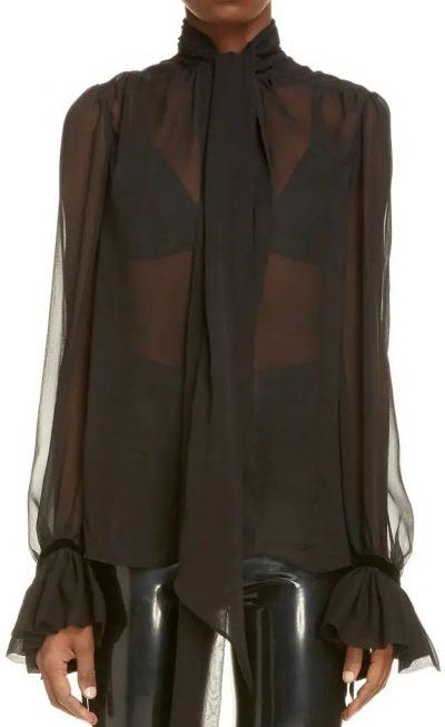 Noir Tie Neck Flare Cuff Sheer Silk Blouse-Saint Laurent