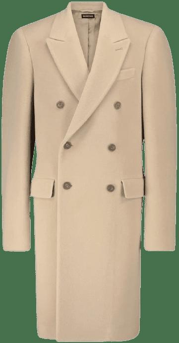 Oat Beige Steroid Double-Breasted Coat-Balenciaga