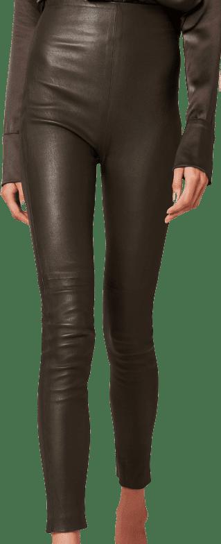 Olive Jessica Leather High-Waisted Pants