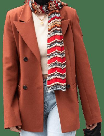 Orange Double Breasted Blazer