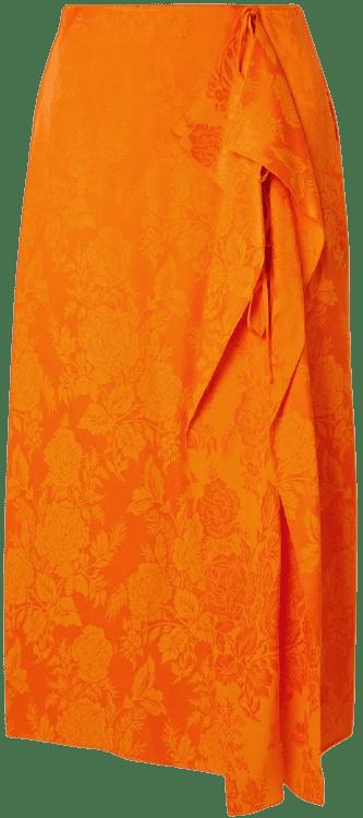 Orange Draped Satin-Jacquard Midi Skirt-The Attico