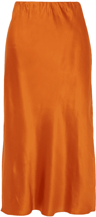 Orange Isla Silk-Satin Midi Skirt