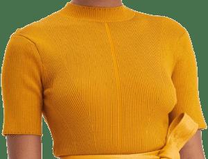 Orange Knit Short Sleeve Pullover-Oscar De La Renta